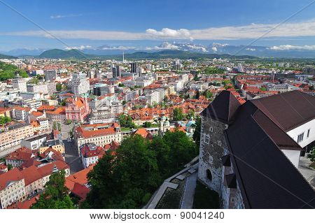 Panoramic view of Slovenian capital Ljubljana