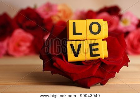 Decorative letters forming word LOVE with flowers close up