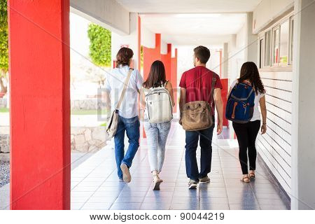 Group Of Students Going To Class