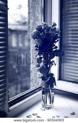 Beautiful roses in vase in black and white