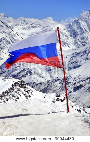 Flag Of Russia On Elbrus