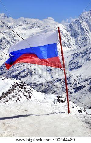 Flag Of Russia On Elbrus