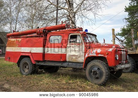 Nizniy Novgorod, Russia - 03 May 2015. Fire-engine Retro Soviet Car Zil-130 (lichacheva The Car Plan