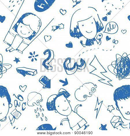 Children Drawing Seamless Pattern