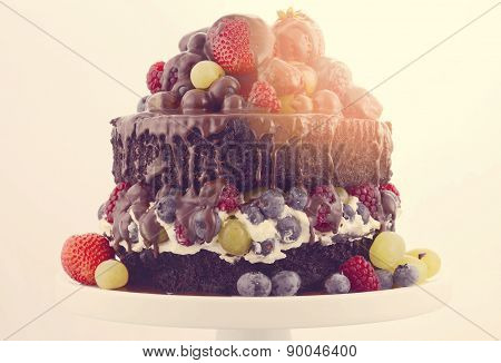 Double Layer Chocolate Mud Cake With Whipped Cream And Fruit.