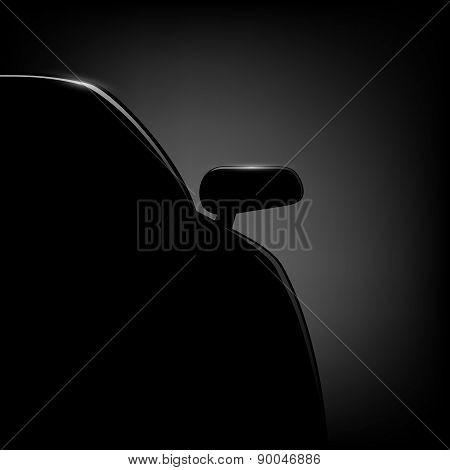 Car Silhouette On A Black Background.