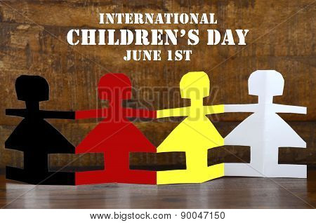International Childrens Day Concept With Paper Dolls