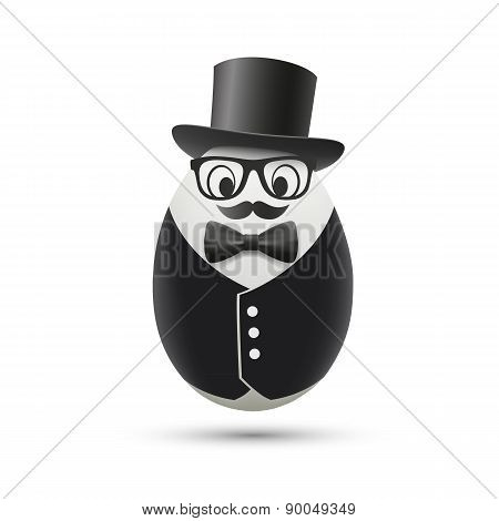 White Egg In A Tuxedo And Hat.