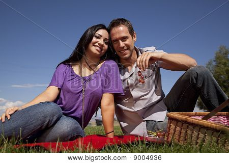 Couple Picnic Eating Grapes