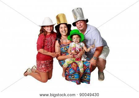 A happy brazilian family with copyspace isolated on white background.