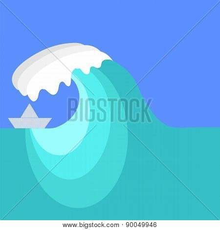 Big Sea Wave and Paper Ship