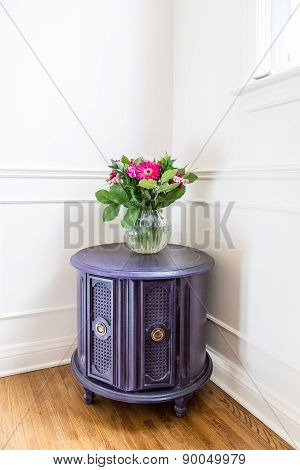 Upcycled Aubergine Drum Table
