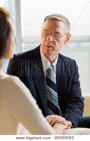 Talking to female patient
