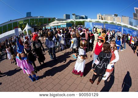 Olorful People Made Up As Manga From The Comic Scene With Costumes Have A Big Party