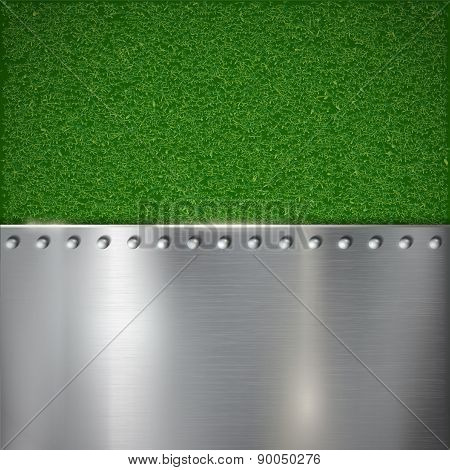Background Of Grass And Polished Metal.
