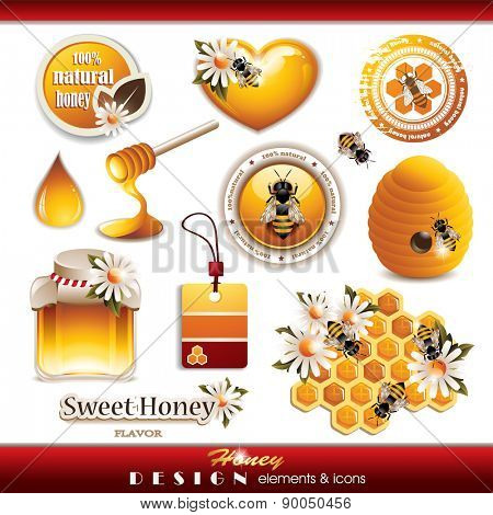 Honey Design Elements and Icons