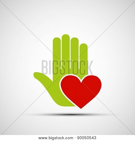 Icon Of A Human Hand Holding A Red Heart.