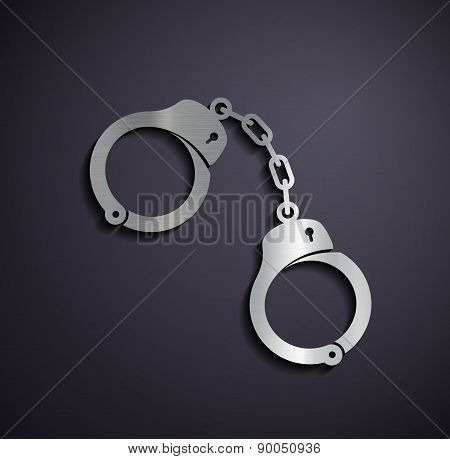 Flat Metallic Icon Handcuffs.