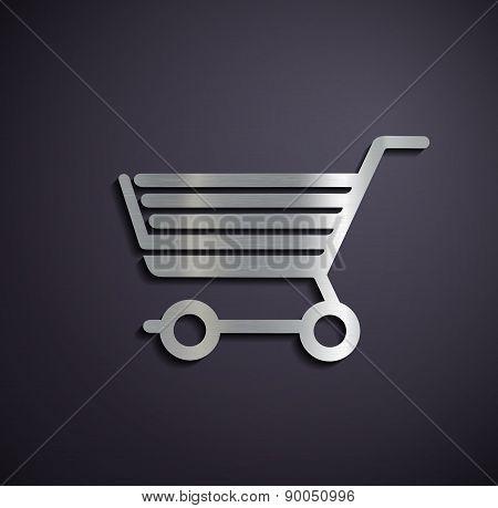 Flat Metallic Icon Shopping Cart.