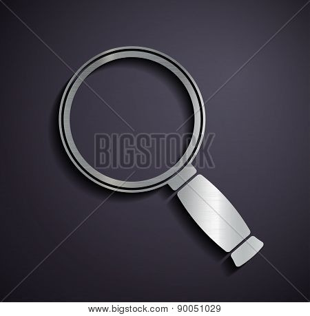 Flat Metallic Icon Magnifier.