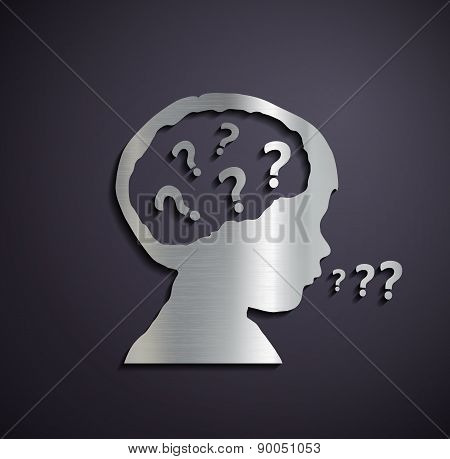 Flat Metallic Icon Of Childrens Heads With A Question Mark.