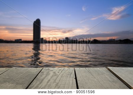 Defocus And Blur Image Of Terrace Wood And City In Sunset View N