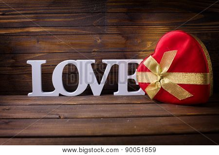 Word Love And Gift Box In Form Of Heart