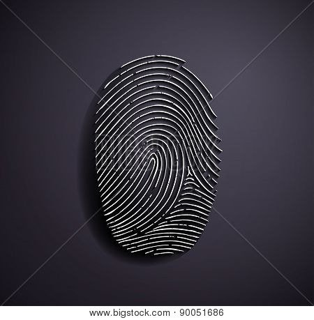 Flat Metallic Icon Fingerprint.