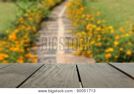 Defocused And Blur Image Of Terrace Wood And Beautiful Walkway P