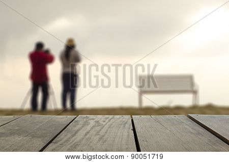Defocused And Blur Image Of Terrace Wood And Sweetheart Standing