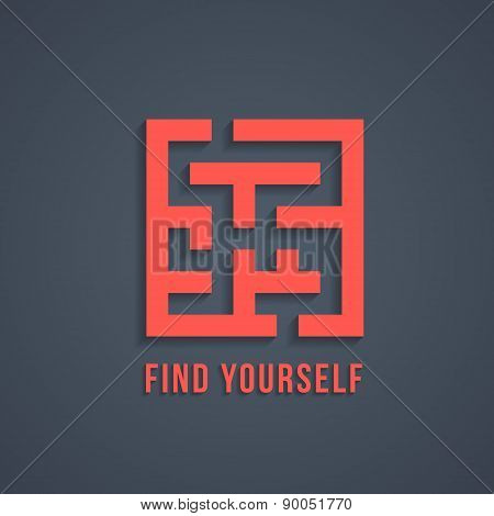concept of find yourself with maze
