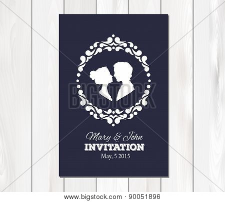 Vector wedding invitation with profile silhouettes of man and wo