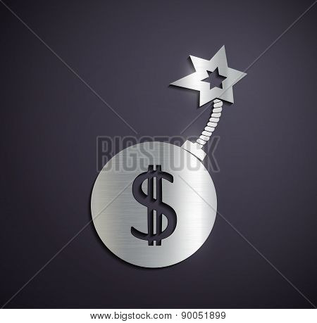 Flat Metallic Icon Dollar Sign.