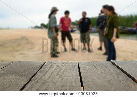 Defocused And Blur Image Of Terrace Wood And Traveller Negotiati