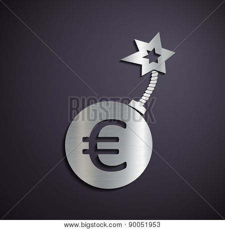 Flat Metallic Icon Euro Sign.