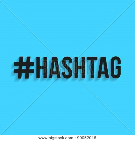 hashtag black lettering with shadow