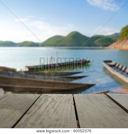 Defocus And Blur Image Of Terrace Wood And Beautiful Harbour In