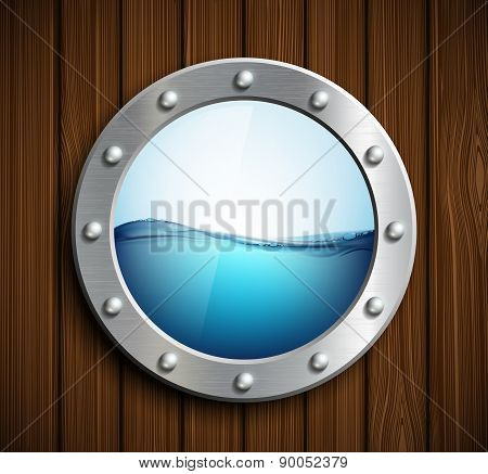 Round Porthole On A Wooden Surface.