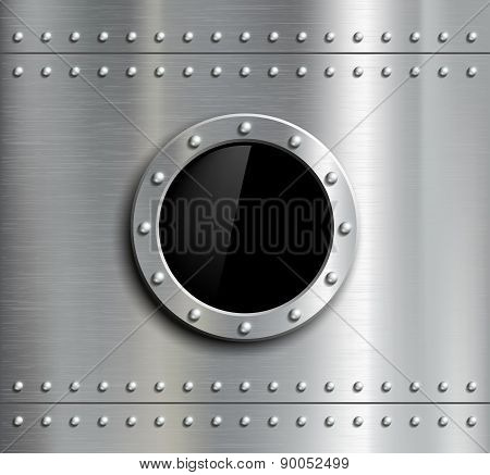 Round Metal Window With Rivets.