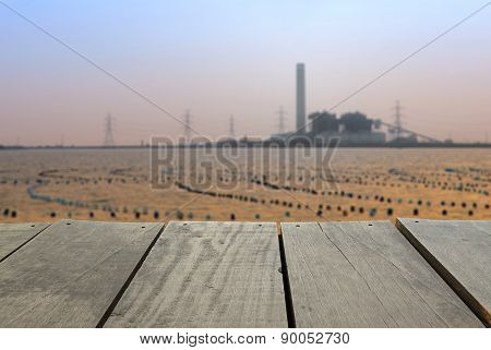 Defocused And Blur Image Of Terrace Wood And Coal-fired Power Pl