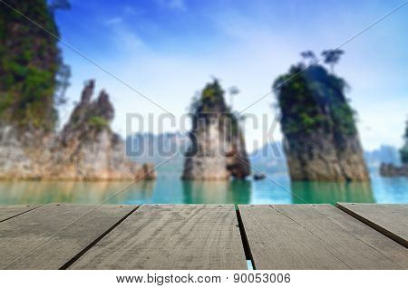 Defocused And Blur Image Of Terrace Wood And Beautiful Jetty Walkway