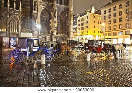 Horse-driven Carriage At Stefansplatz In The Heart Of Vienna