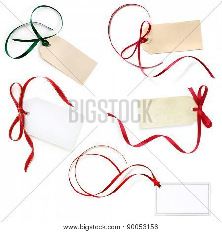Gift tags collection, isolated on white.  Red and green festive ribbons.