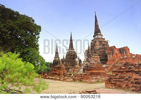 Ancient three Pagoda In Ayuttaya Thailand