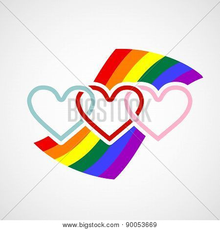 Icon Hearts On Rainbow Background.