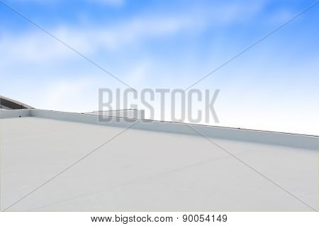 Deck Or Terrace On Rooftop Of Business Building And Blue Sky With Copy Space Background