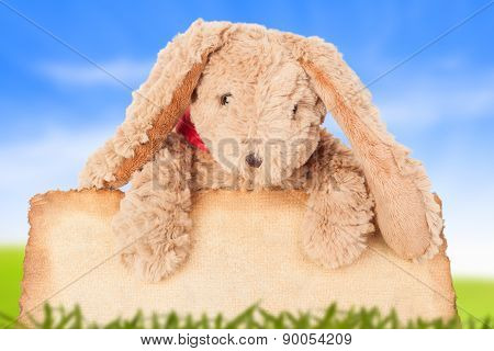 Rabbit, Holding Old Grunge Canvas Fabric Burn Edge For Happy Easter Eggs Festival With Blue Sky Back