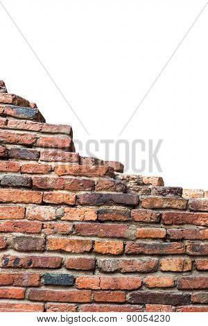 Red Old Brick Wall Texture On White Background