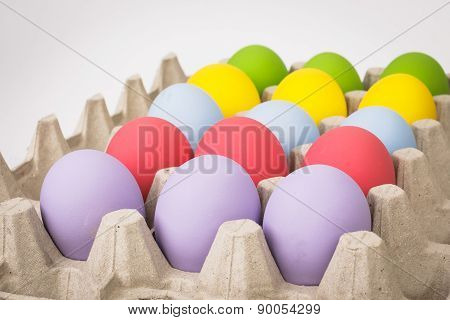 Colorful Of Eggs For Holiday Easter Festival On Crate, Can Use As Background