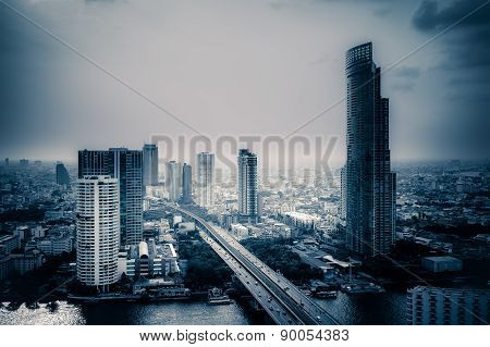 Business Building Bangkok City Area At Twilight Scene With Transportation Car And Ship As Panorama,